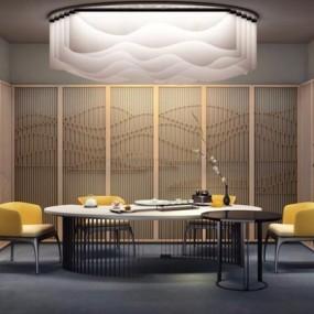 新中式茶室3D模型【ID:127847927】