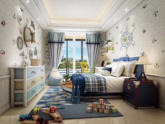 地中海儿童房3D模型【ID:427945528】