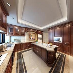 超豪华整体美式厨房3D模型【ID:527999119】