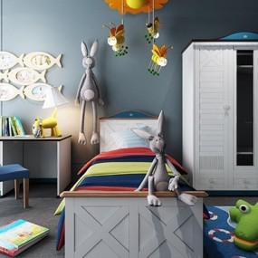 儿童房衣柜床具组合3D模型【ID:327904530】