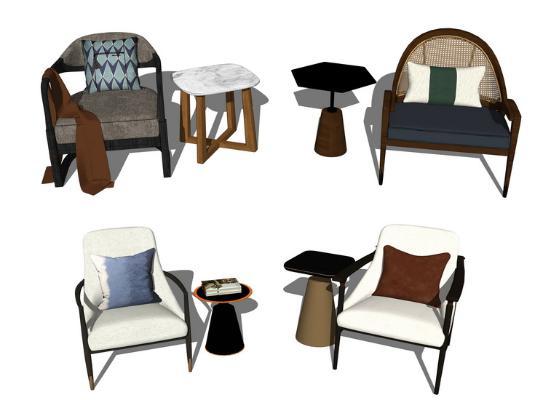 新中式單人椅子角幾組合SU模型【ID:947336462】