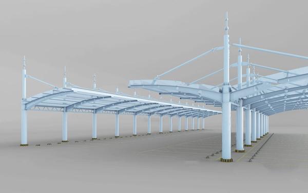 現代停車位停車棚3D模型【ID:447686550】