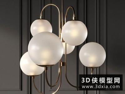 現代金屬吊燈國外3D模型【ID:829449748】