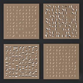 现代轻奢方形金属墙饰挂件3d模型【ID:246658722】