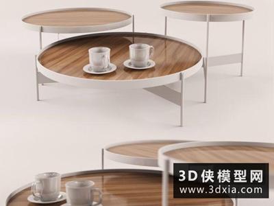 現代圓茶幾國外3D模型【ID:829431168】