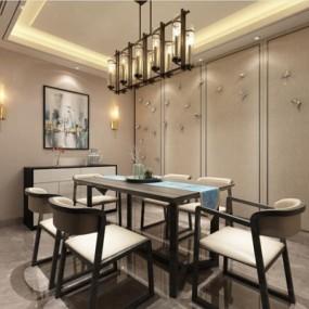 新中式餐廳3D模型【ID:828129539】