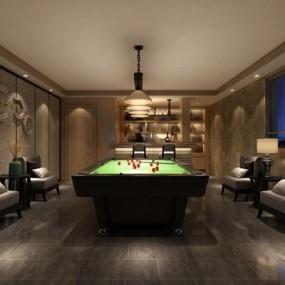新中式台球室3D模型【ID:628045433】