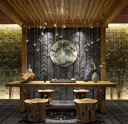 中式茶室3D模型【ID:127844977】
