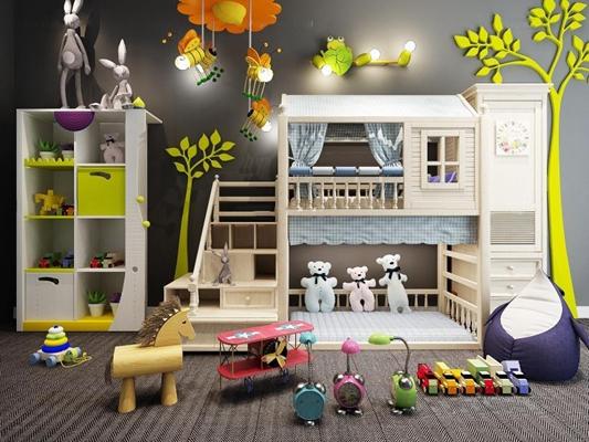 現代兒童房雙層床書柜玩具卡通吊燈壁燈男孩房女孩房小火車攝影主題組合3D模型【ID:427946551】