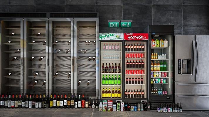 飲料柜冰箱組合3D模型【ID:127861868】