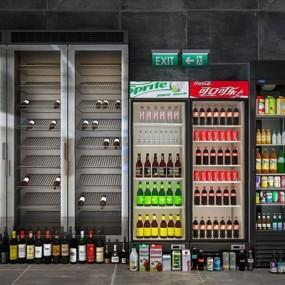 饮料柜冰箱组合3D模型【ID:127861868】
