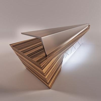 现代原木色异形木艺前台桌3D模型【ID:214893587】