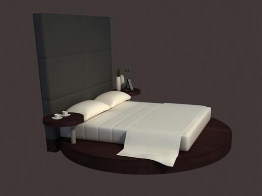 现代布艺圆床3D模型【ID:214954715】