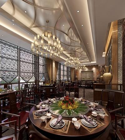 中欧混搭西餐厅3D模型【ID:214954972】