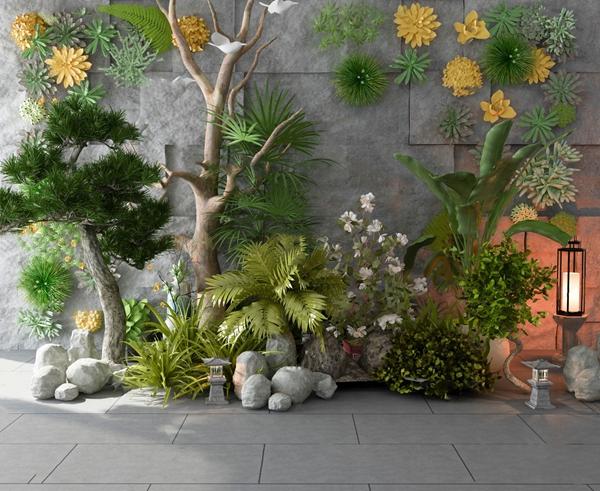 現代綠植園藝小品3D模型【ID:146658472】