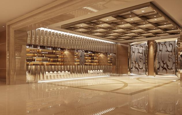 现代酒窖展厅3D模型【ID:215093201】