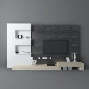 灰色木艺电视墙3D模型【ID:215201118】
