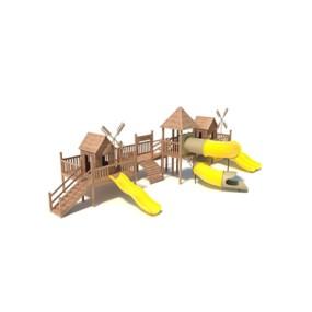 棕色木艺儿童滑梯3D模型【ID:215267499】