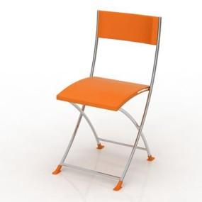 现代橙色塑料折叠椅3D模型【ID:215340750】