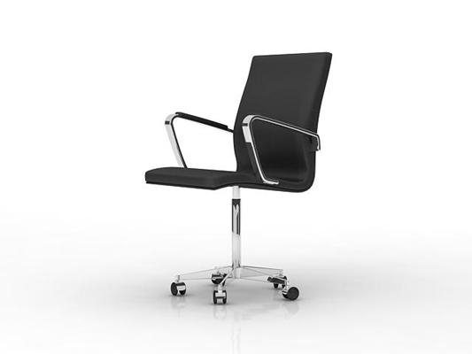 现代黑色皮质办公椅3D模型【ID:215340915】