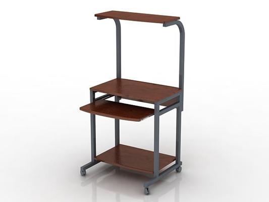 现代棕色木艺电脑桌3D模型【ID:215341079】