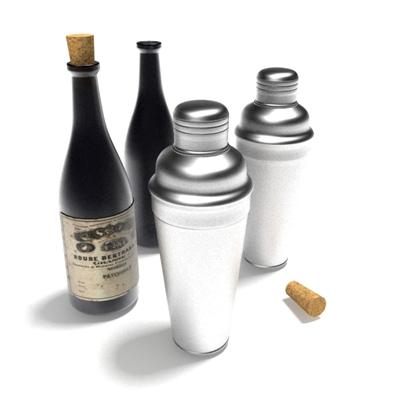 酒瓶酒杯组合3D模型【ID:215361817】