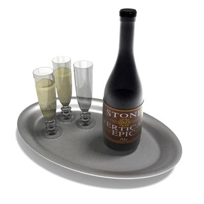 酒瓶酒杯组合3D模型【ID:215361851】
