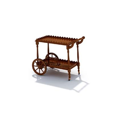 棕色木艺推车3D模型【ID:215408244】