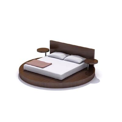现代棕色木艺圆床3D模型【ID:215414785】