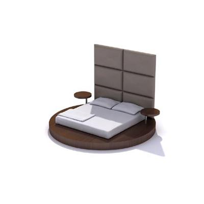 现代棕色木艺圆床3D模型【ID:215414790】
