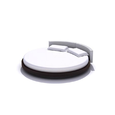 现代棕色木艺圆床3D模型【ID:215415700】