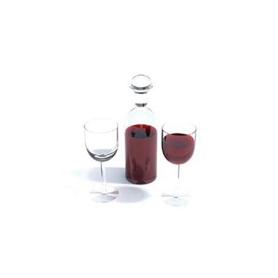 透明酒瓶酒杯组合3D模型【ID:215420879】