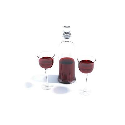 透明酒瓶酒杯组合3D模型【ID:215420897】