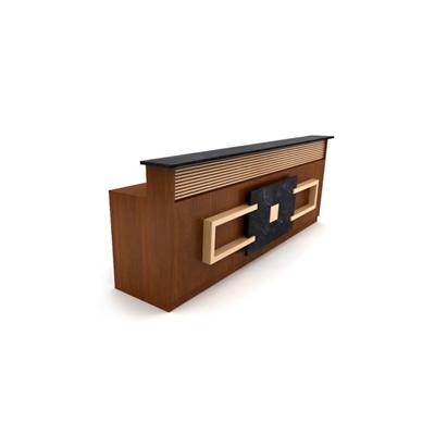 现代原木色木艺前台桌3D模型【ID:215434516】