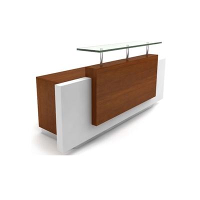 现代原木色木艺前台桌3D模型【ID:215434544】