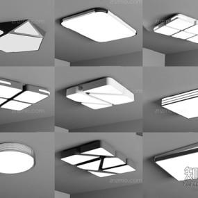 现代吸顶灯组合3D模型【ID:628046095】