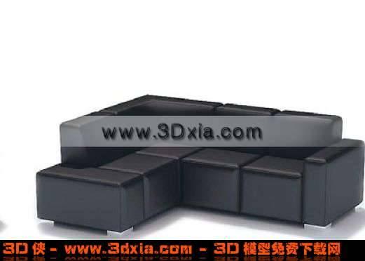 很普通的3D黑色沙發模型3D模型【ID:2170】