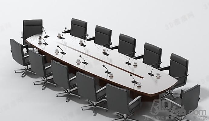 会议桌43D模型【ID:217155360】