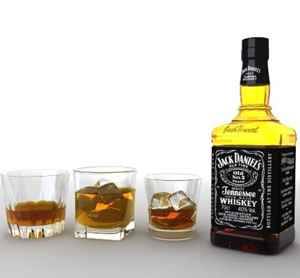 酒瓶酒杯组合13D模型【ID:217266885】