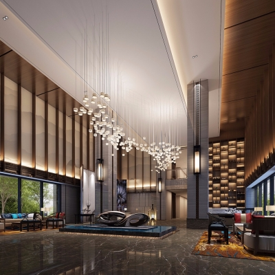 中式酒店前台大厅3D模型【ID:428443242】