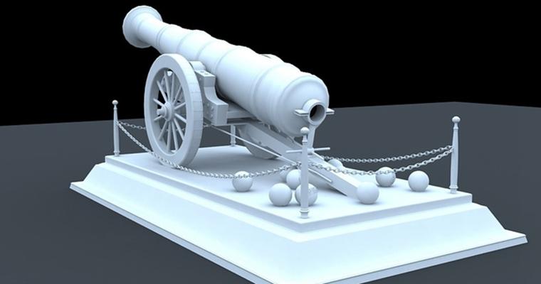 大炮13D模型【ID:217337913】