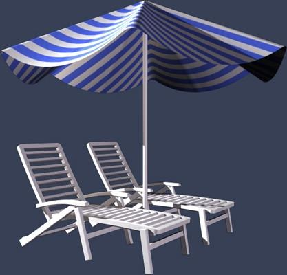 现代白色木艺躺椅3D模型【ID:217528640】