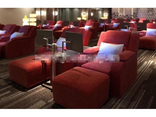 现代红色布艺躺椅3D模型【ID:217548676】
