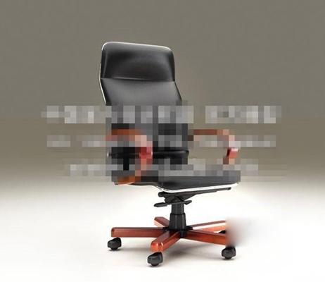 现代黑色皮质办公椅3D模型【ID:217567958】