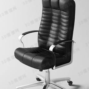 现代黑色皮质电脑椅3D模型【ID:217582842】