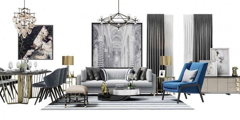 后现代客厅软装搭配 组合沙发 后现代沙发 茶几 休闲椅 餐桌椅 边柜 装饰画 吊灯 窗帘 角几