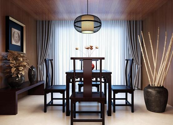 中式桌椅组合3D模型【ID:327899496】