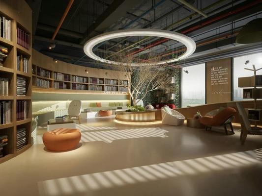 書吧圖書館3D模型【ID:828131217】