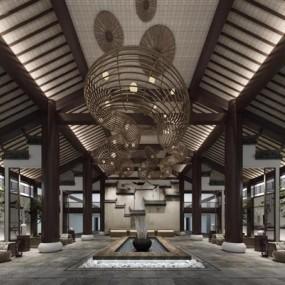 新中式酒店大厅3D模型【ID:427953234】