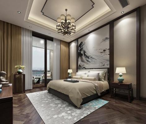 新中式酒店客房3D模型【ID:427950668】